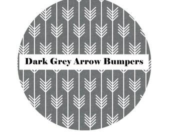 Crib Bumpers in DARK GREY ARROW-Crib Bedding-Arrow Crib Bedding-Baby Bedding-Black-BoyCrib Bedding