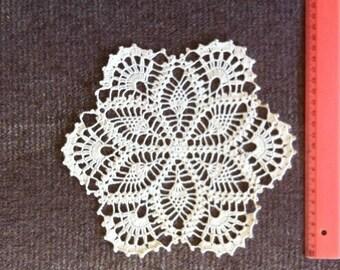 D-59.  DOILY  light beige, Christmas Gift, Crochet Doily, Christmas Present, Crochet Original, Home Decor, Cotton Lace