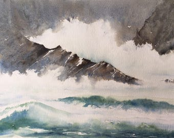 Stormy Waters, Donegal. Watercolour Print. Wild Atlantic Way.