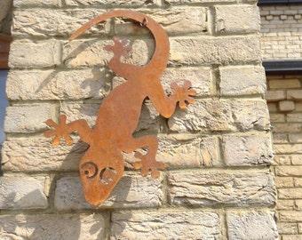 Rusty Gecko / Gecko Wall Decor / Rusty Metal Garden Wall Decor / Gecko Garden Gift / Gecko Ornament / Metal Garden Decor / Gecko Garden Art