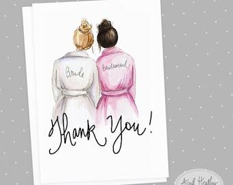 Thank you! Bridesmaid PDF Dark Blonde Bride and Dark Brunette Bridesmaid, Thank you card PDF printable card