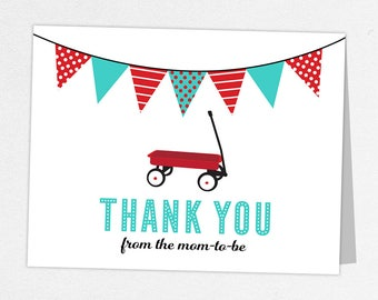 Red Wagon Thank You Card, Baby Shower Thank You Card, Baby Thank You Card, Red Wagon Shower, Radio Flyer Thank You, Radio Flyer Shower, Blue