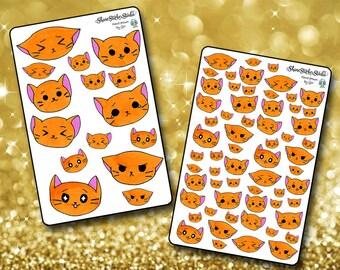 Emoji KItty Stickers - Planner Stickers Erin Condren Life Planner Cute Kittycon Stickers ECLP Happy Planner Cat Stickers