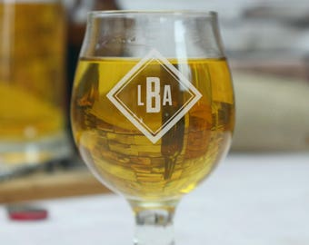 Monogrammed Beer Glass, Craft Beer Glass, Beer Lover Gift, Belgian Beer Glass, Beer Mug, Gift for Boyfriend, Beer Gift