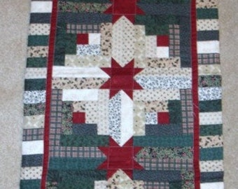 20% off thru 7/10 Instructions only LOG CABIN STAR Christmas table runner pattern December Year one- pieced quilted