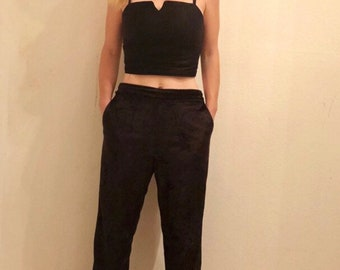 Black crop top with cutout detail