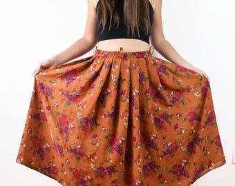 Vintage maxi skirt, floral skirt, brown skirt, bohemian skirt, Summer Maxi Skirt, Elastic Waist Skirt, Printed Maxi Skirt