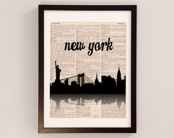 New York City Skyline Print - NYC Silhouette - Print on Vintage Dictionary Paper - I Heart NY - New York City Art, NYC Print