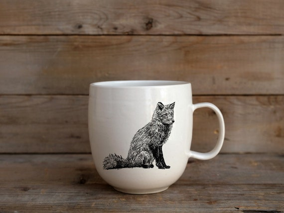 Handmade Porcelain coffee mug with red fox drawing Canadian Wildlife collection