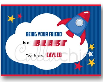 Valentine Mini Cards Printable (Boy) - Rocket, Outer Space, Out of this World, Blast Off - Valentine's Day Exchange in School (Personalised)