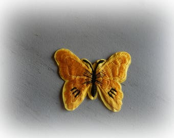 1 patch fusible patch / applique Butterfly in shades of yellow slightly dark and black 5.5 * 7 cm