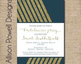 Gold Glitter and Navy Bachelorette Party Invitation - Girls Night Out - Last Fling - Print you own or Printed.