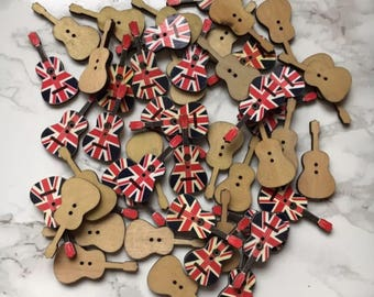 Union Jack British Flag Wooden Guitar Buttons x 30