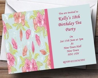 Pale blue invitation etsy pale blue pink vintage tea personalised party invitations solutioingenieria Choice Image