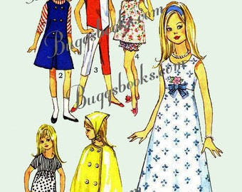 Vintage Simplicity 6275 - For Skipper and Lil Sister 9 inch Dolls - PDF Sewing Pattern