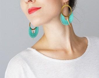 Hoop Earrings Mint Earrings Lace Earrings Statement Earrings Modern Earrings Gold Earrings Girlfriend Gift For Her Mom Gifts Custom/ OCRI