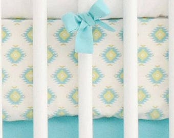 Aztec Baby in Aqua Crib Baby Bedding | Crib Sheet