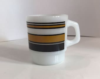 Vintage Fire King Coffee Mug Anchor Hocking Super Stripe Brown Stackable