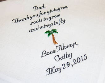 Personalized Father of the Bride Handkerchief, Roots to Grow and Wings to Fly, Wedding Day Keepsake - Thread Born Memories