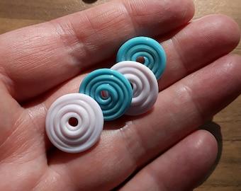 Pink and turquoise, lampwork bead set, lampwork discs, handmade beads