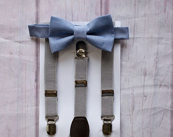 Dusty Blue Bow tie and Light Grey Suspenders, Boys Bow Tie, Boy Cake Smash, Fall Wedding, Ring Bearer Outfit, Wedding Bow Tie, Kid Suspender