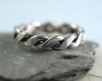 Sterling Silver Twist Ring - Chunky Gage Wire - Mens Ring - Thumb Ring - Hammered - Your Size