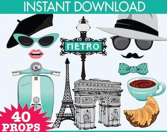 Paris Photo Booth Props - Paris Baby Shower, Chanel Party, Parisian, Wedding - Aqua - Instant Download PDF - 40 DIY Printable Props