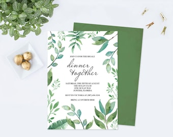 DINNER PARTY INVITATION Template pdf, Greenery, Rehearsal Dinner, Instant Download, Dinner Invitation, Wedding Rehearsal, Rehearsal Invite