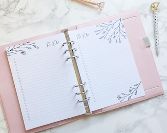 2018 Floral Design Printed To Do Checklist Pages - Bullet Journal Inspired - A5