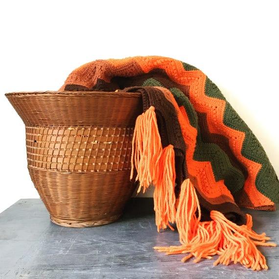large wicker basket - woven rattan planter - boho home storage - brown fall decor