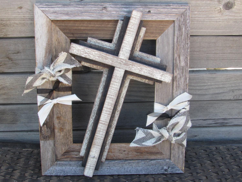Cross Wall Art Rustic Cross Decor Frame Cross Art Wooden Frame