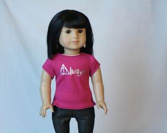 18 Inch Doll Shirt, Wizard Doll Shirt, Magic Doll Clothes,  Always Doll Shirt, fit American Girl Doll, Geeky Doll Clothes, Wizard Doll
