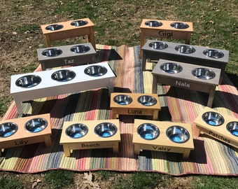Handmade dog and cat food stands