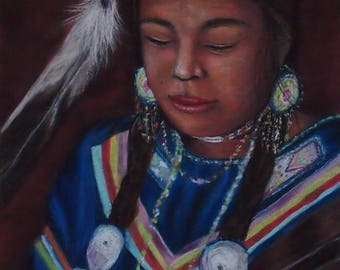 "Professional Giclee Print of an Original Pastel ""Winyanke"" by a Native American Artist"