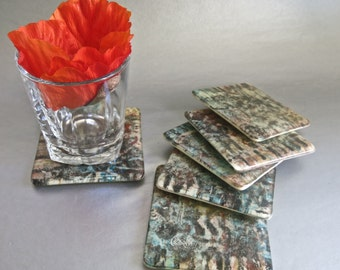"""Hand Painted Fused Glass Coaster Set of Six , 4"""" by 4"""""""