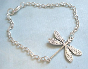 Silver Dragonfly Bracelet Dragonfly Chain Bracelet Dragonfly Jewelry Bridesmaid Bracelet Wedding Jewelry Chain Bracelet