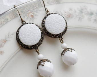 Paper Whites, Vintage German Glass Button Earrings