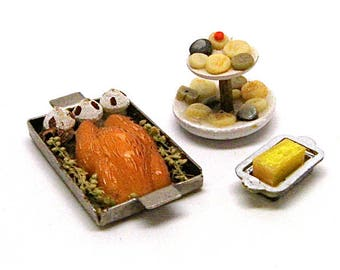Dollhouse Food, Rosemary Chicken Dinner, Cookie Tray, Butter Dish, Miniature, Kitchen, Baking,Mini, Miniaturist, Hobby, 1:12 Scale