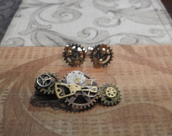 Steampunk Tie clip with cuff links