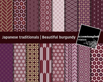 Traditional Japanese beautiful burgundy geometric pattern scrapbooking 12x12, digital paper, royalty free, commercial- Instant Download