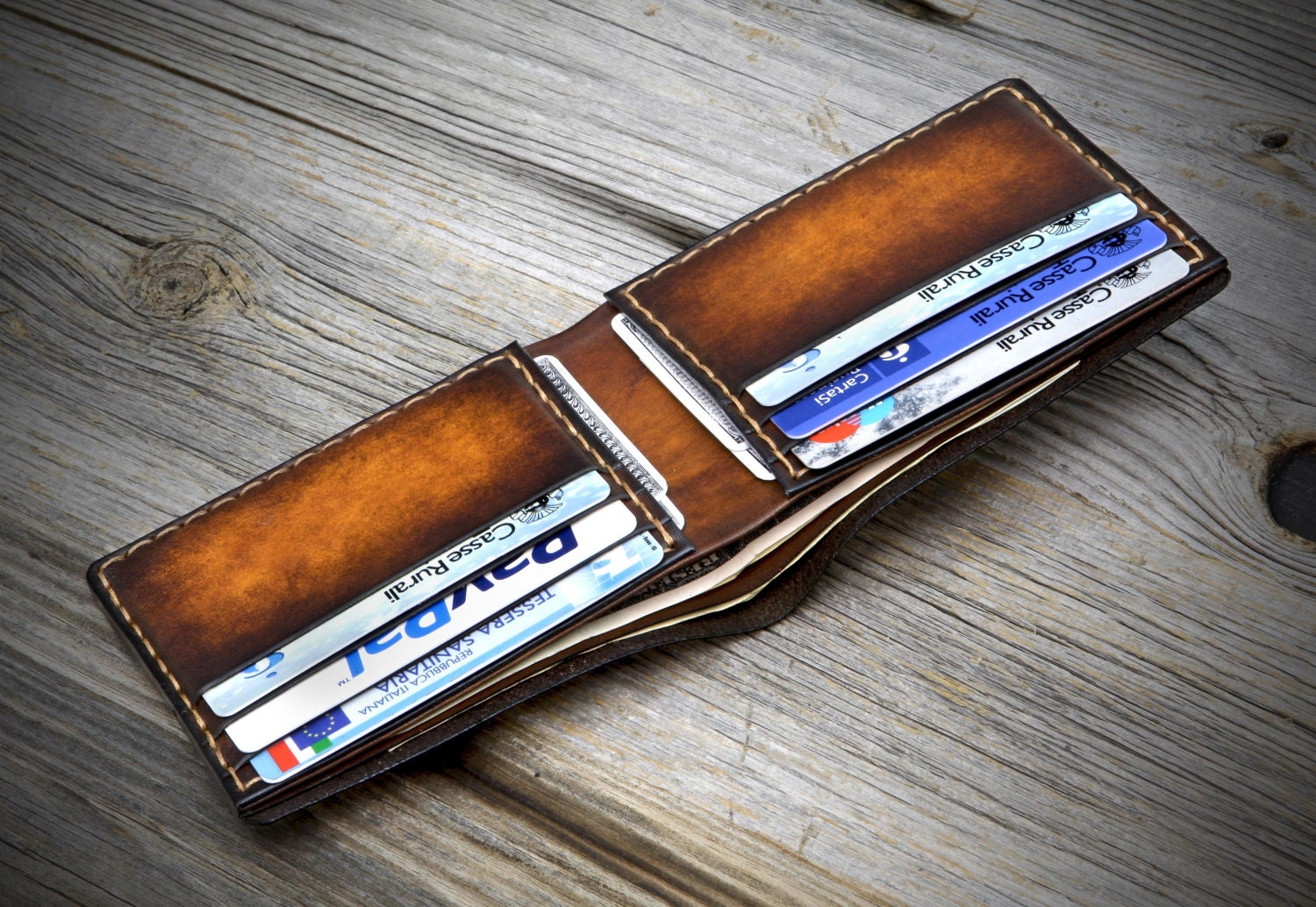 Slim Leather Wallet For Men Thin Bifold Leather Wallet For