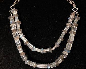 Labradorite and Aquamarine Beaded Necklace with Labradorite Chain
