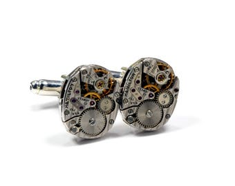 FANCY Cuff Links Wedding Cufflinks STRIPED Hamilton 757 Mens Cufflinks Watch Cuff Links SOLDERED Steampunk Jewelry by Victorian Curiosities