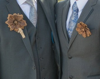 Pinecone boutonniere pins, wrist corsages and bouquets