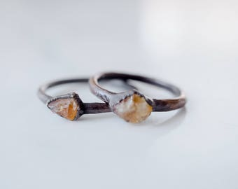 Citrine ring Raw Citrine ring Dainty ring Raw crystal ring Dainty jewelry Natural stone ring Raw gemstone ring Bohemian ring Boho jewelry