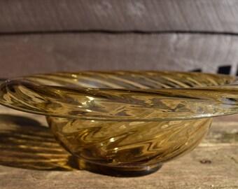 Vintage Large Swirled Amber Glass Bowl