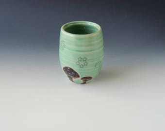 Ceramic Wine Cup // wine tumbler, ceramic tumbler, clay cocktail cup, wheelthrown handmade pottery, green cup, mushrooms, decals, mushroom
