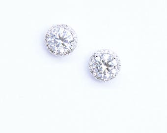 Cubic Zirconia Solitaire Stud Earrings Bridal Earrings Cocktail Earrings Best Gift For Her