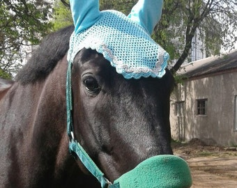 Horse Ear Bonnet / Fly veil / Show jumping veil/ Crochet fly bonnet / Horse fly bonnet