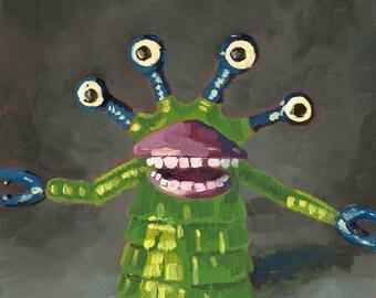 The Boogerman - Monster finger puppet - Art Print